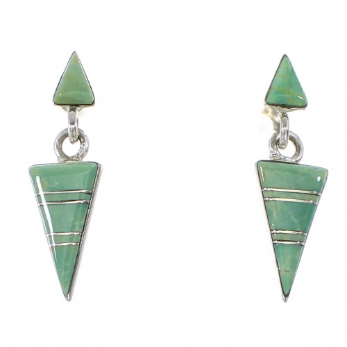 Turquoise Inlay Silver Post Dangle Earrings AX95996