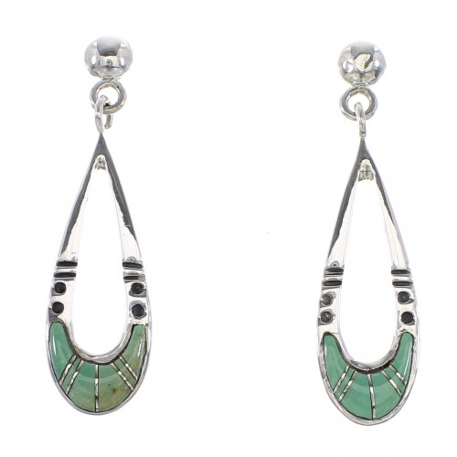 Turquoise Inlay Jewelry Authentic Sterling Silver Post Dangle Earrings AX95999