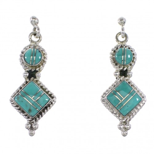 Southwest Turquoise Jewelry Silver Post Dangle Earrings AX96009
