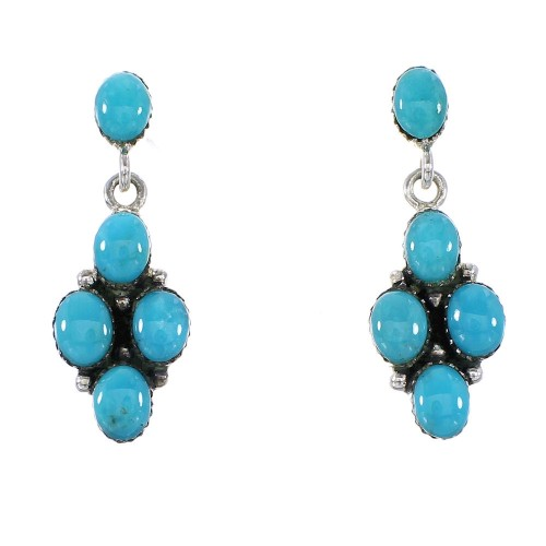 Turquoise Silver Southwest Post Dangle Earrings AX95772