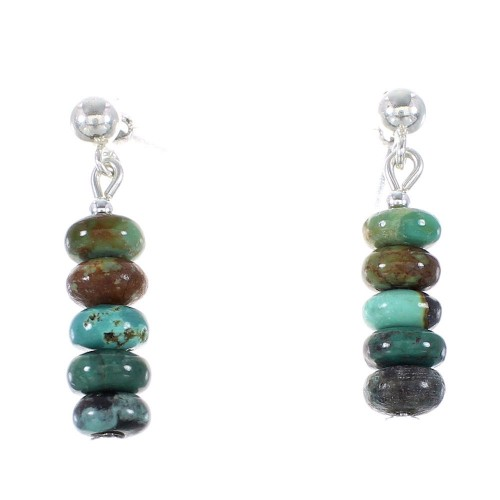 Turquoise Genuine Sterling Silver American Indian Bead Post Dangle Earrings AX95903