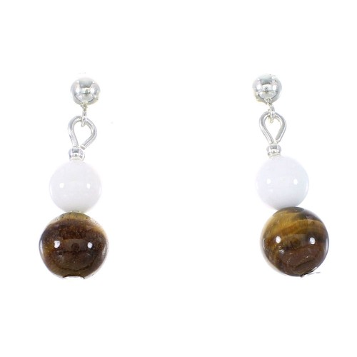 Tiger Eye And White Agate Silver Navajo Bead Post Dangle Earrings AX95917