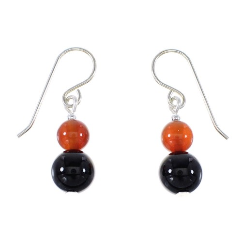 Navajo Silver Carnelian And Onyx Bead Hook Dangle Earrings AX95934