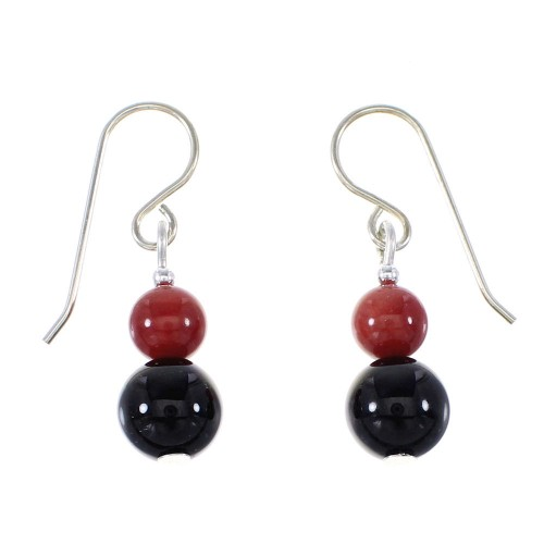 Onyx And Coral Native American Genuine Sterling Silver Bead Hook Dangle Earrings AX95946