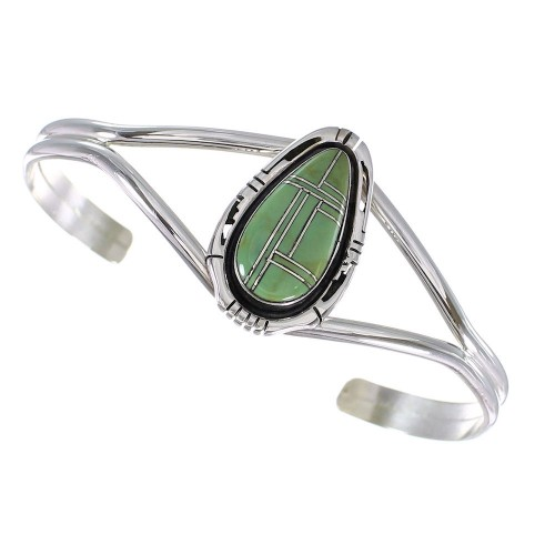 Turquoise Inlay And Genuine Sterling Silver Southwest Cuff Bracelet RX102039
