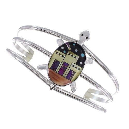 Genuine Sterling Silver Multicolor Native American Village Design Turtle Cuff Bracelet RX95899