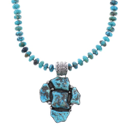 Turquoise Sterling Silver Navajo Indian Bead Necklace Set AX96050