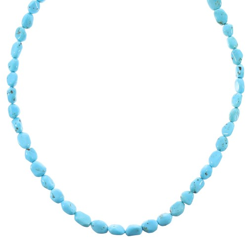 Turquoise Authentic Sterling Silver Bead Necklace RX96084