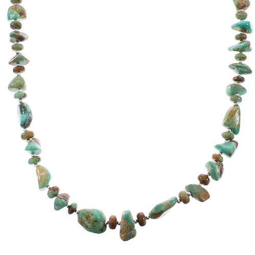 Genuine Sterling Silver Native American Kingman Turquoise Bead Necklace RX96097