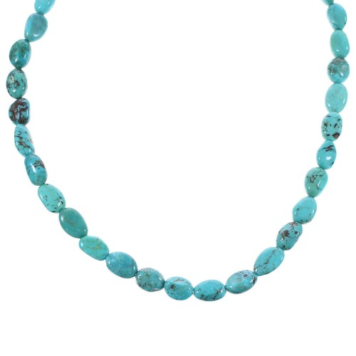 Turquoise Sterling Silver Bead Necklace AX96144