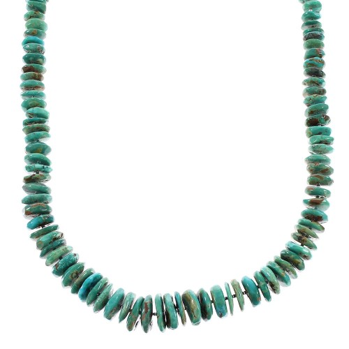 Kingman Turquoise Navajo Sterling Silver Jewelry Bead Necklace AX96503