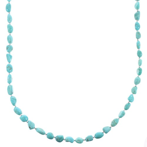 Navajo Sterling Silver Turquoise Bead Necklace AX96518