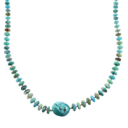 Navajo Indian Genuine Sterling Silver Turquoise Jewelry Bead Necklace AX96532