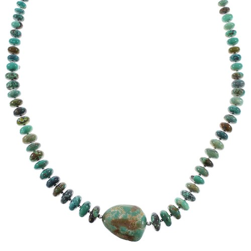 Navajo Indian Sterling Silver Turquoise Jewelry Bead Necklace AX96534