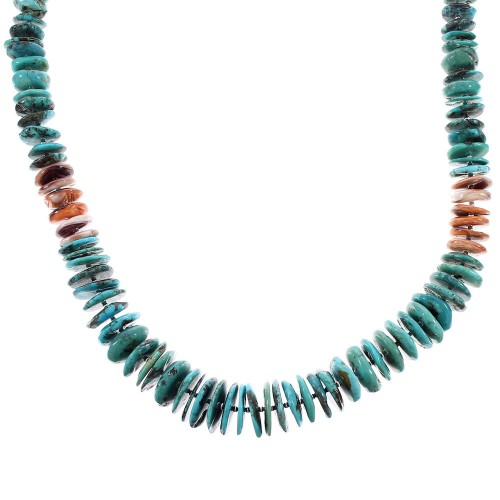 Native American Turquoise And Oyster Shell Sterling Silver Bead Necklace RX96103