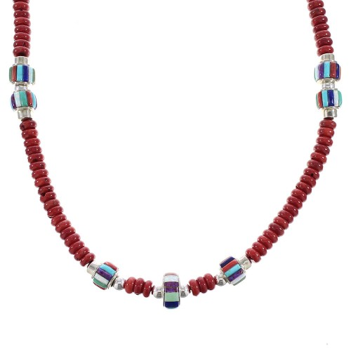 Authentic Sterling Silver Multicolor Navajo Bead Necklace RX96108