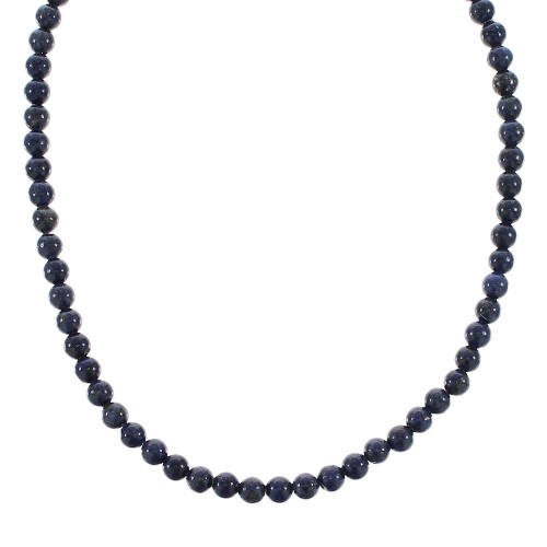 Southwest Lapis Genuine Sterling Silver Bead Necklace RX96109