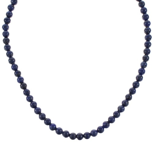 Lapis And Sterling Silver Bead Necklace RX96110