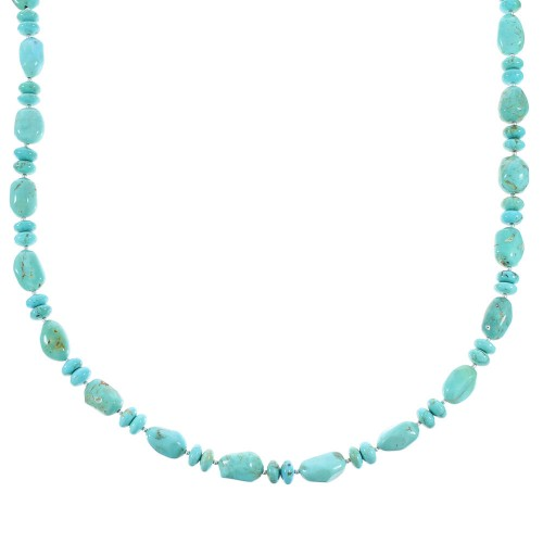 Turquoise Jewelry Sterling Silver Navajo Bead Necklace AX96247