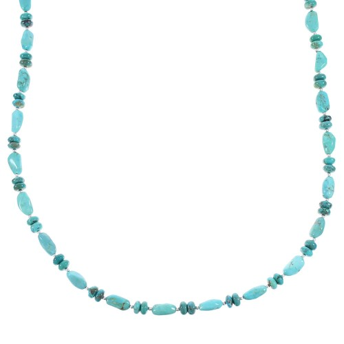 Turquoise Jewelry Silver Native American Bead Necklace AX96251