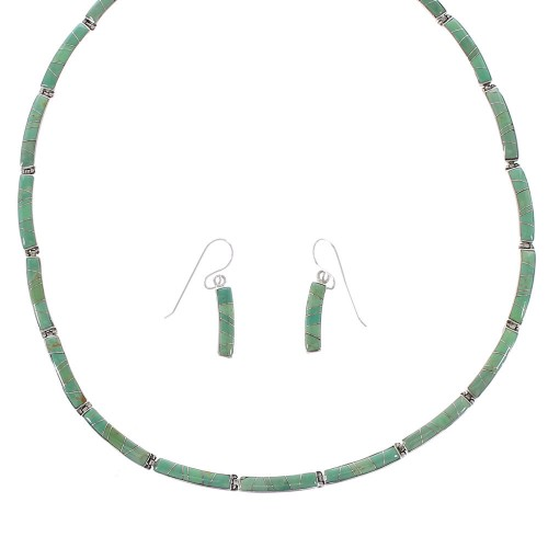 Southwestern Sterling Silver Turquoise Necklace And Earring Set RX96533