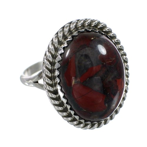 Jasper Native American Genuine Sterling Silver Ring Size 6 AX96391