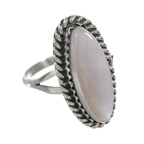 Pink Shell Genuine Sterling Silver Navajo Ring Size 5-3/4 AX96404