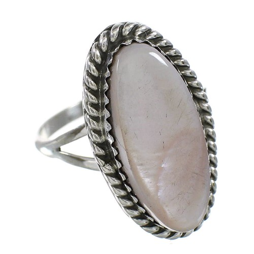Authentic Sterling Silver Native American Pink Shell Ring Size 7 AX96418