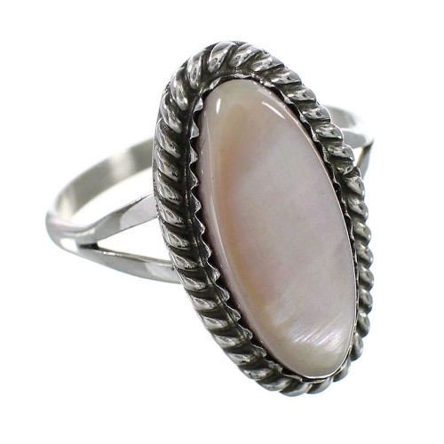 Pink Shell Silver American Indian Ring Size 7 AX96427