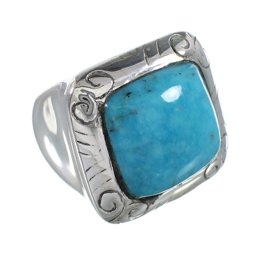Southwestern Turquoise Sterling Silver Ring Size 5-1/4 AX96428