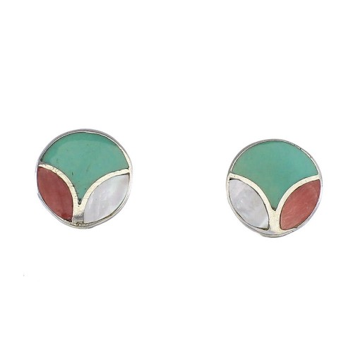 Sterling Silver Multicolor Inlay Post Stud Earrings RX96617