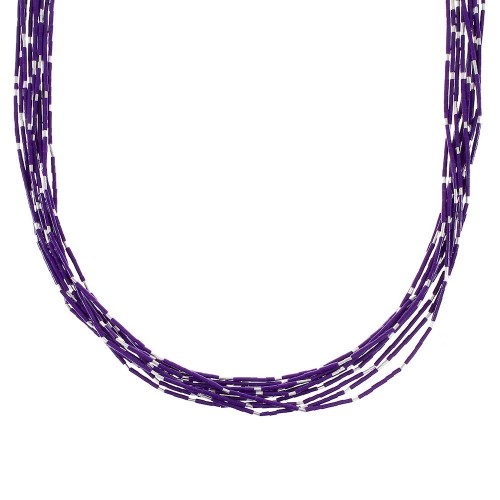 Liquid Sterling Silver 10-Strand Sugilite Bead Necklace AX96757