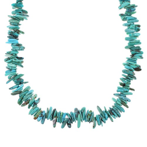 Southwest Sterling Silver Turquoise Bead Necklace RX96662