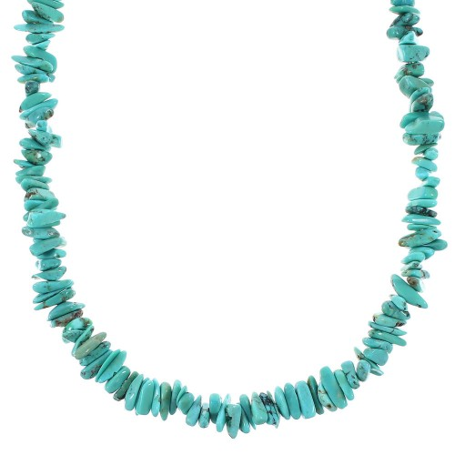 Turquoise And Genuine Sterling Silver Bead Jewelry Necklace RX96683