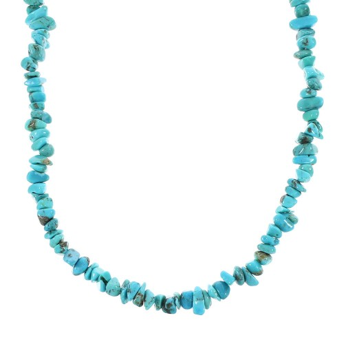 Turquoise Authentic Sterling Silver Bead Necklace RX96692