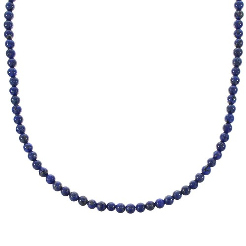Lapis And Sterling Silver Bead Necklace RX96700
