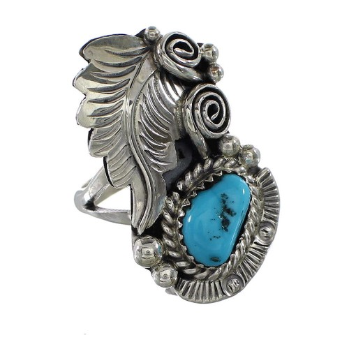Turquoise American Indian Silver Leaf Jewelry Ring Size 6 AX96998