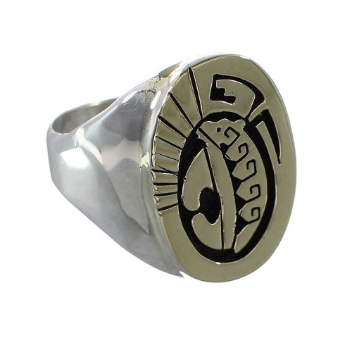 Bear Water Wave Navajo Calvin Peterson Sterling Silver 14 Karat Gold Ring Size 9-1/2 AX97537