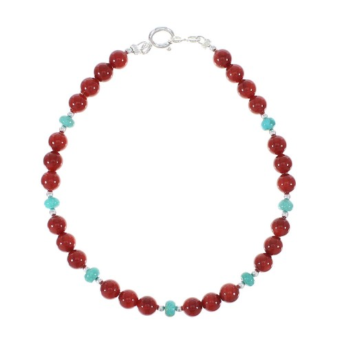 Turquoise And Coral Native American Sterling Silver Bead Bracelet AX97201
