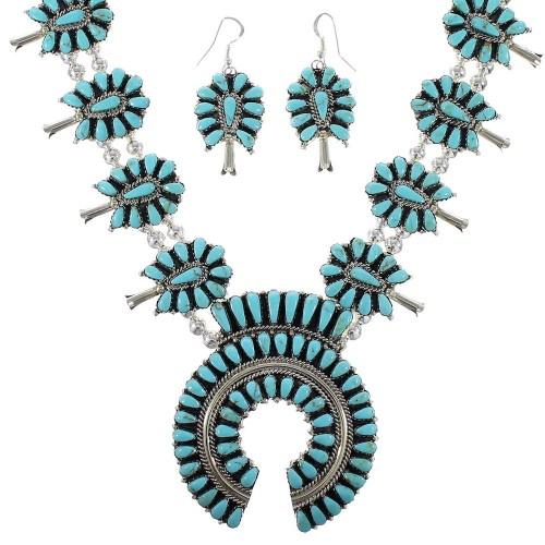 Sterling Silver Turquoise Navajo Squash Blossom Necklace Set AX97421
