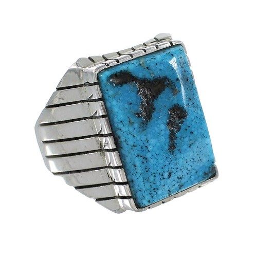 Silver Turquoise American Indian Jewelry Ray Jack Ring Size 9-3/4 AX97529