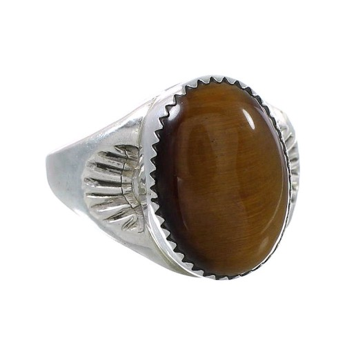 Tiger Eye And Authentic Sterling Silver Navajo Ring Size 11-1/2 AX99689