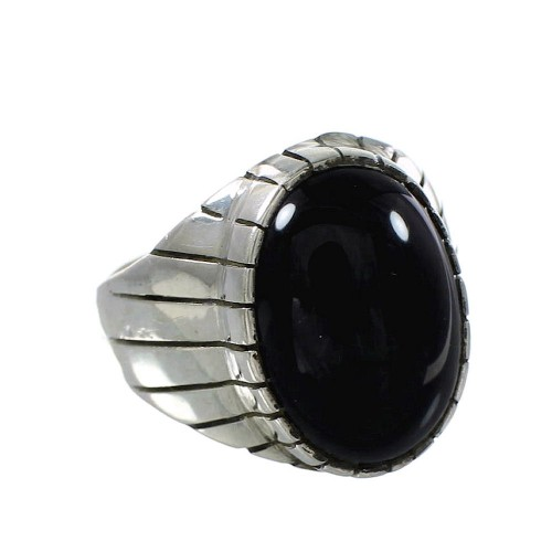 Navajo Onyx And Sterling Silver Ray Jack Ring Size 11-3/4 RX97682