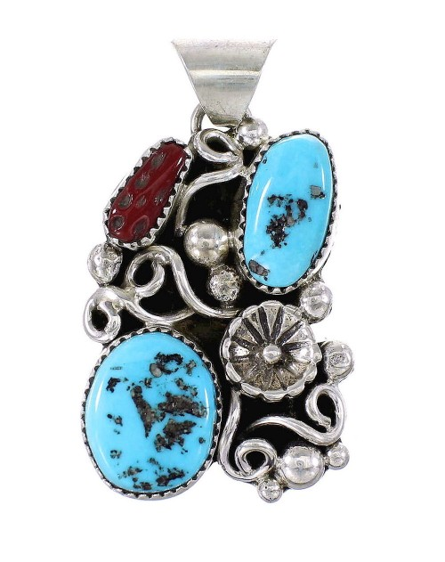 Sterling Silver Turquoise And Coral Flower Navajo Pendant AX97607