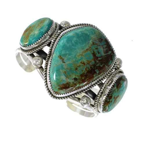 Navajo Indian Turquoise And Sterling Silver Cuff Bracelet RX97846