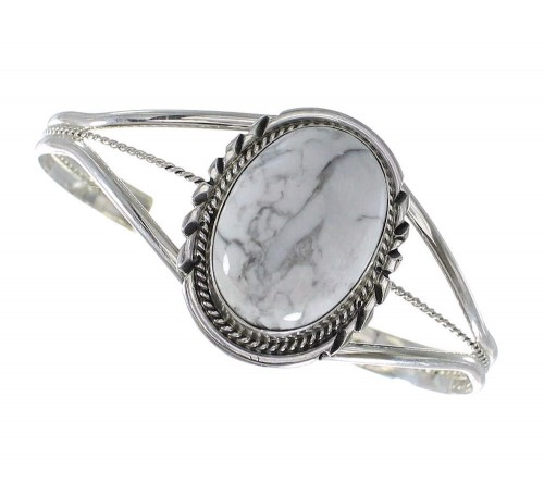 Howlite And Sterling Silver American Indian Cuff Bracelet RX97921