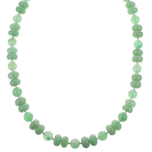 Aventurine Sterling Silver Native American Bead Necklace AX98126