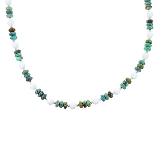 Sterling Silver Turquoise And White Agate Native American Bead Necklace RX98039