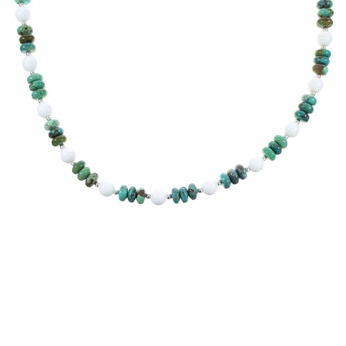 Authentic Sterling Silver Turquoise And White Agate Native American Bead Necklace RX98041