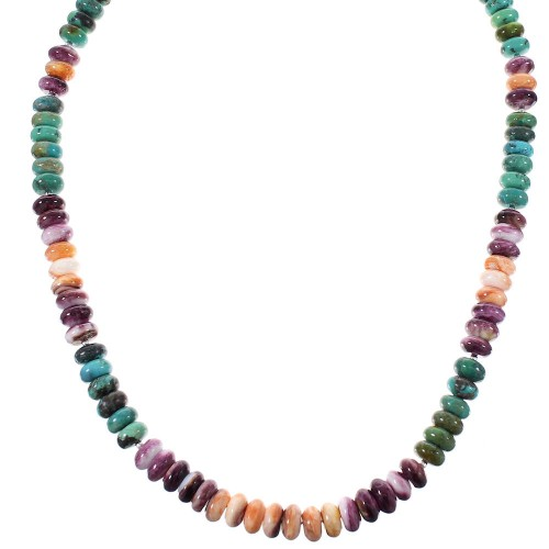 Multicolor Sterling Silver Native American Bead Necklace RX98068